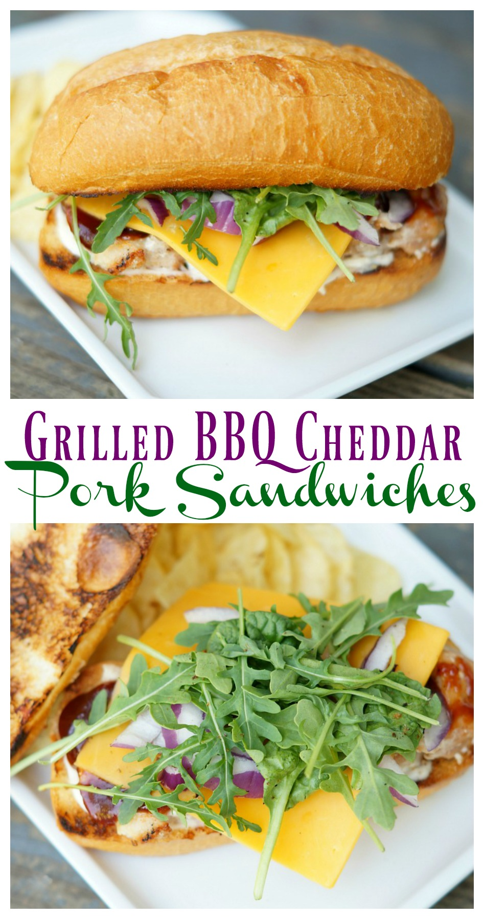 Grilled BBQ Cheddar Pork Sandwiches