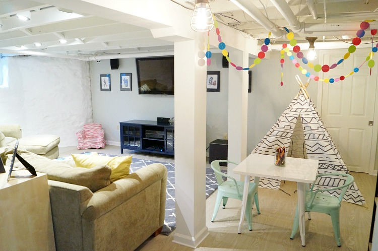 One Room Challenge Basement Family Room And Playroom Reveal