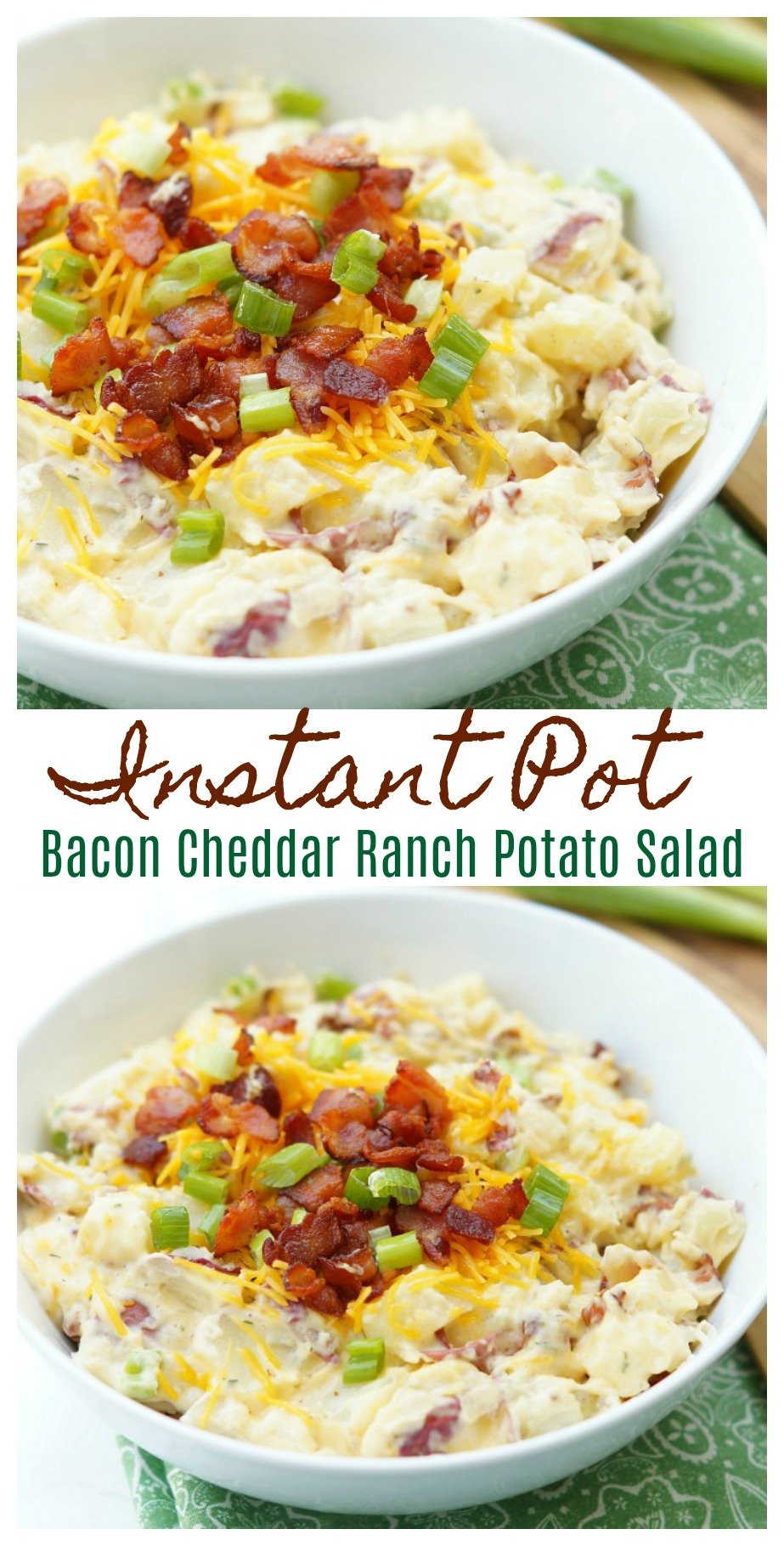 Instant Pot Bacon Cheddar Ranch Potato Salad. This easy side dish recipe will replace your traditional potato salad recipe!