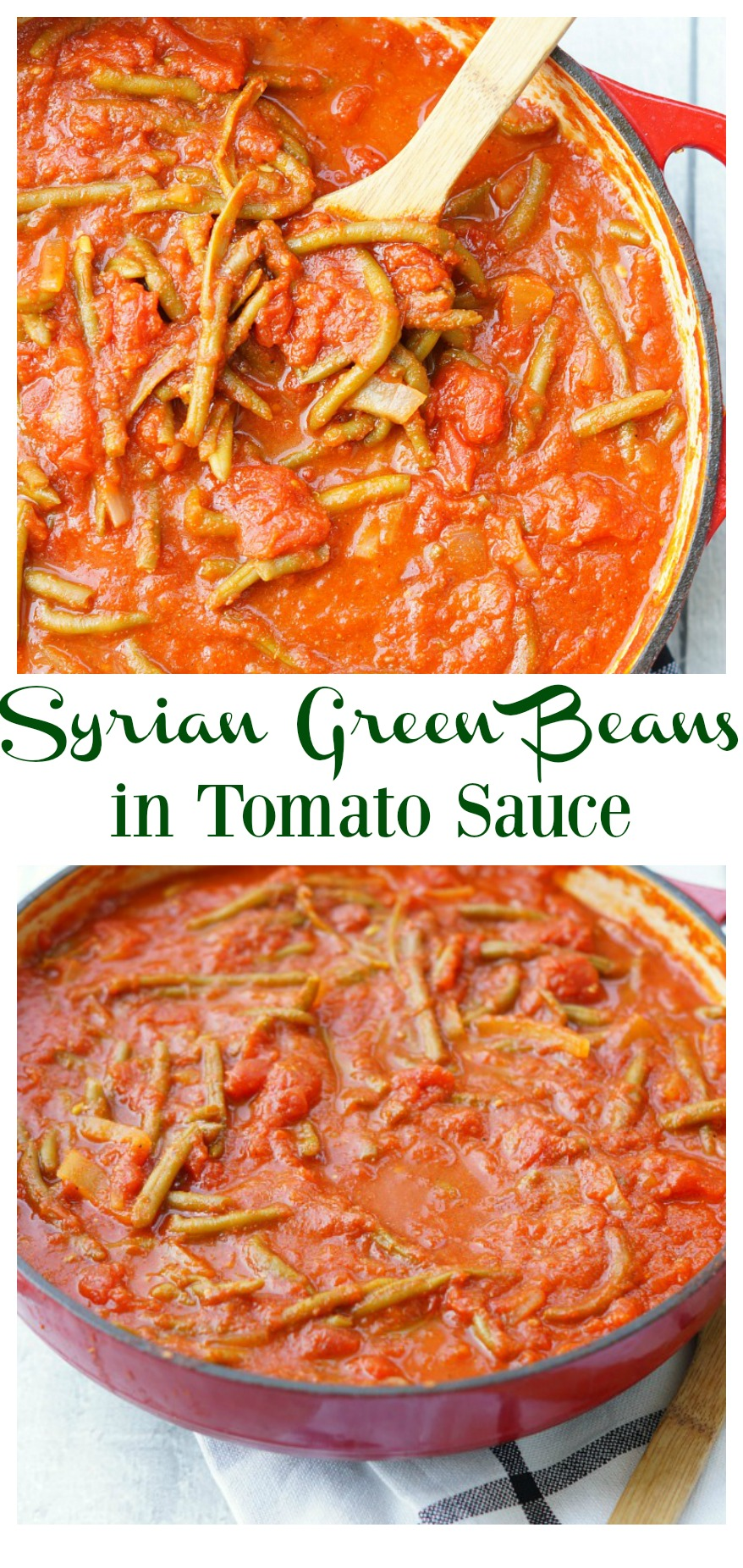Lebanese Green Beans in Tomato Sauce is an amazing middle-eastern side dish recipe! Everyone loves these green beans in tomato sauce!