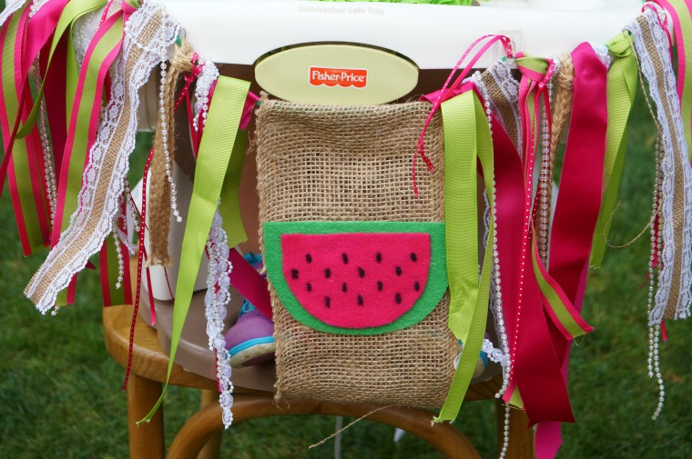 One in a melon birthday bunting for a high chair