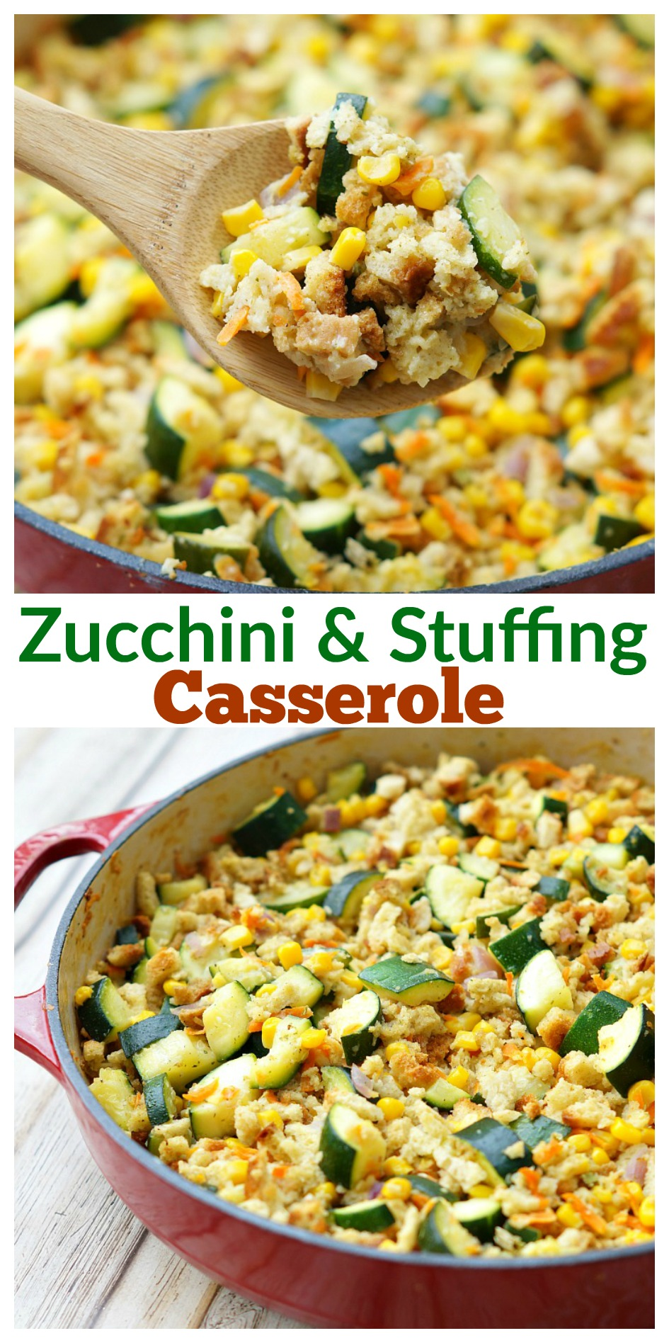 Easy Zucchini and Stuffing Casserole with Corn