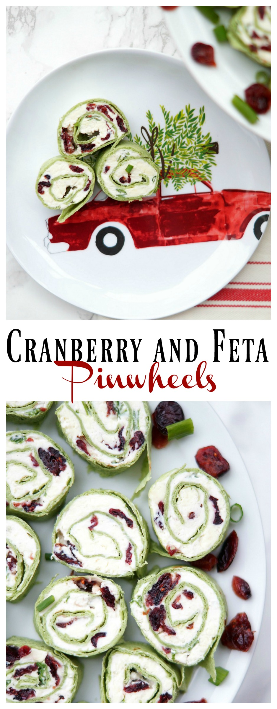 Cranberry and Feta Pinwheels, an easy appetizer perfect for Christmas!