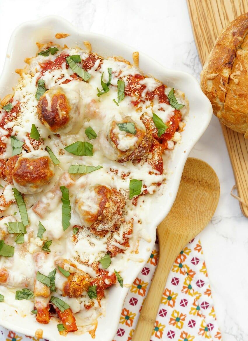 Chicken Parm Meatball Casserole