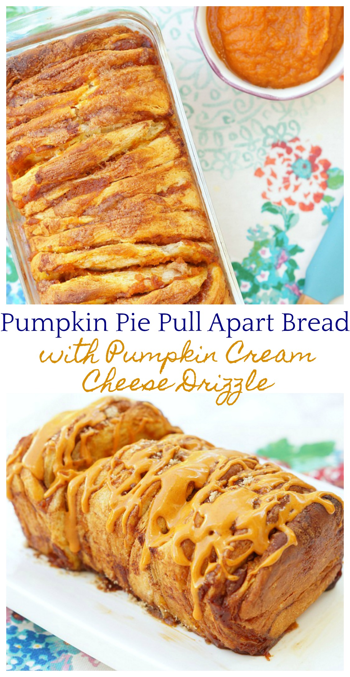 Pumpkin Pie Pull Apart Bread with Pumpkin Cream Cheese Drizzle, the most delicious bread for Thanksgiving morning!