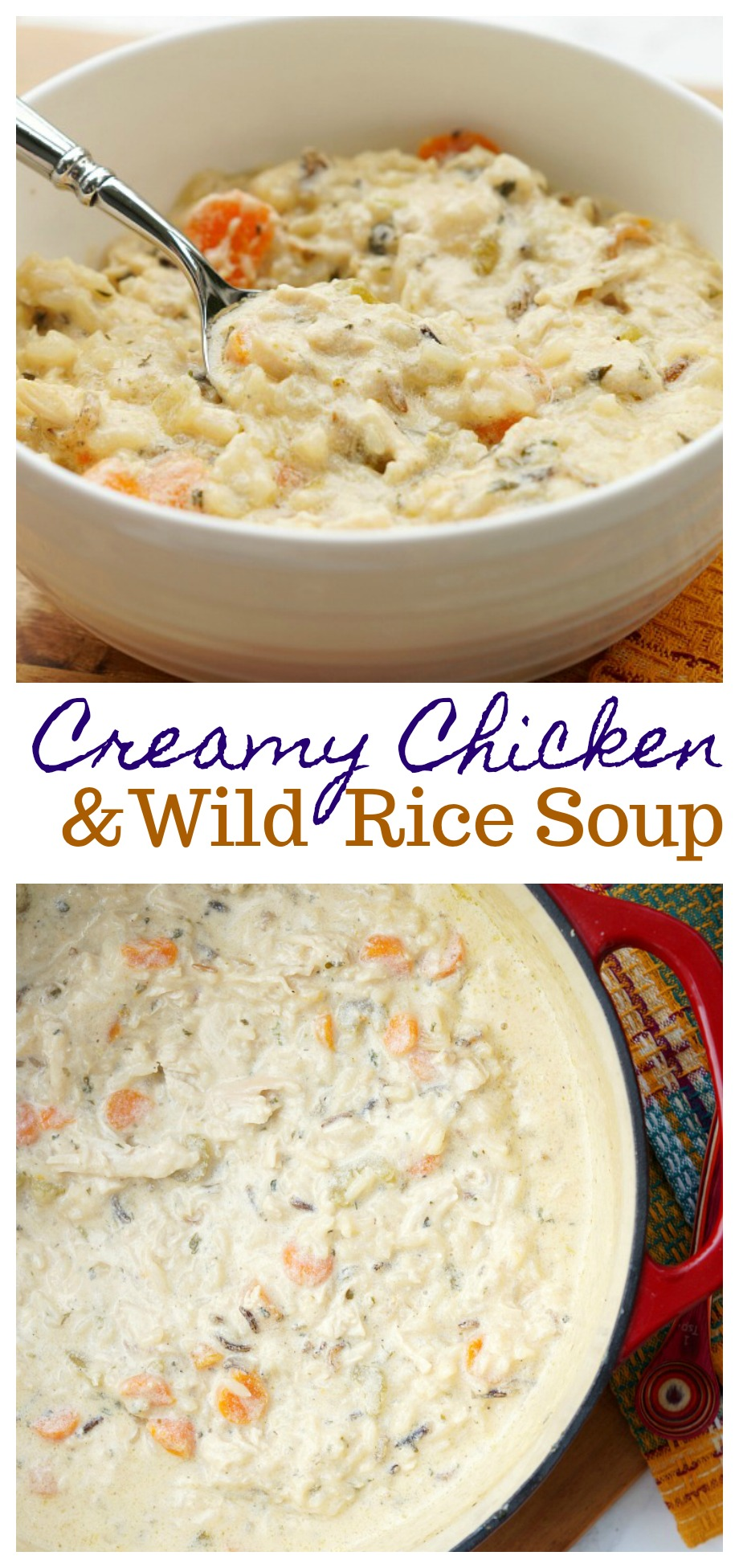Quick and Easy Creamy Chicken and Wild Rice Soup. A filling comfort food meal that your family will love!