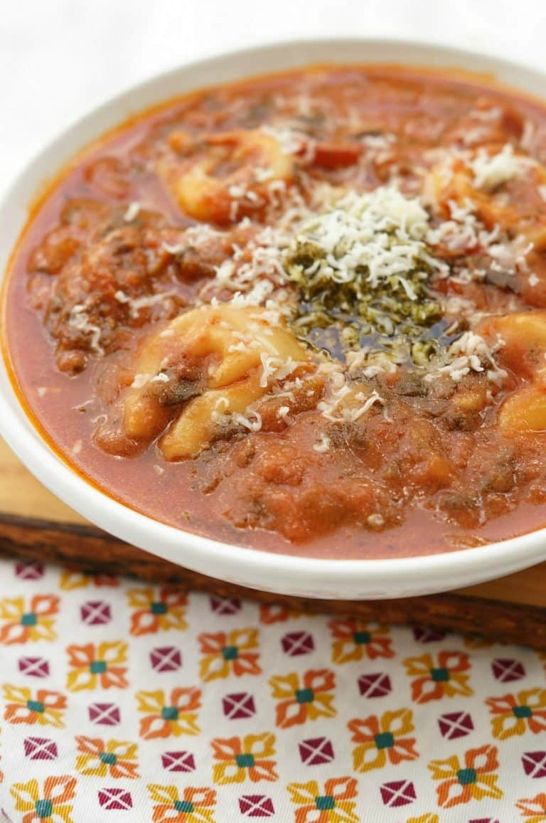 Instant Pot Comfort Food Recipe, Pesto Tomato Tortellini Soup