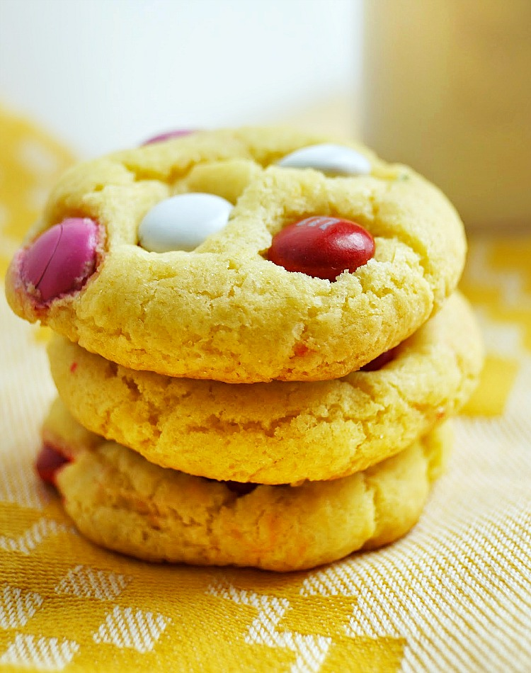 Cake Batter M&M Cookies, an easy and delicious cookie recipe for Valentine's Day or any occasion!