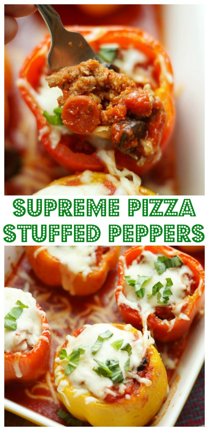 Supreme Pizza Stuffed Peppers, a family friendly healthy dinner!
