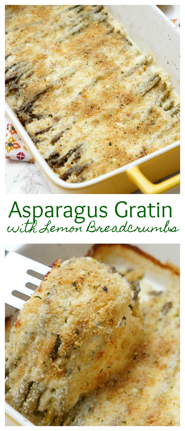 Asparagus Gratin with Lemon Breadcrumbs, an easy asparagus side dish recipe! Layers of roasted asparagus, cheese, and lemony breadcrumbs!
