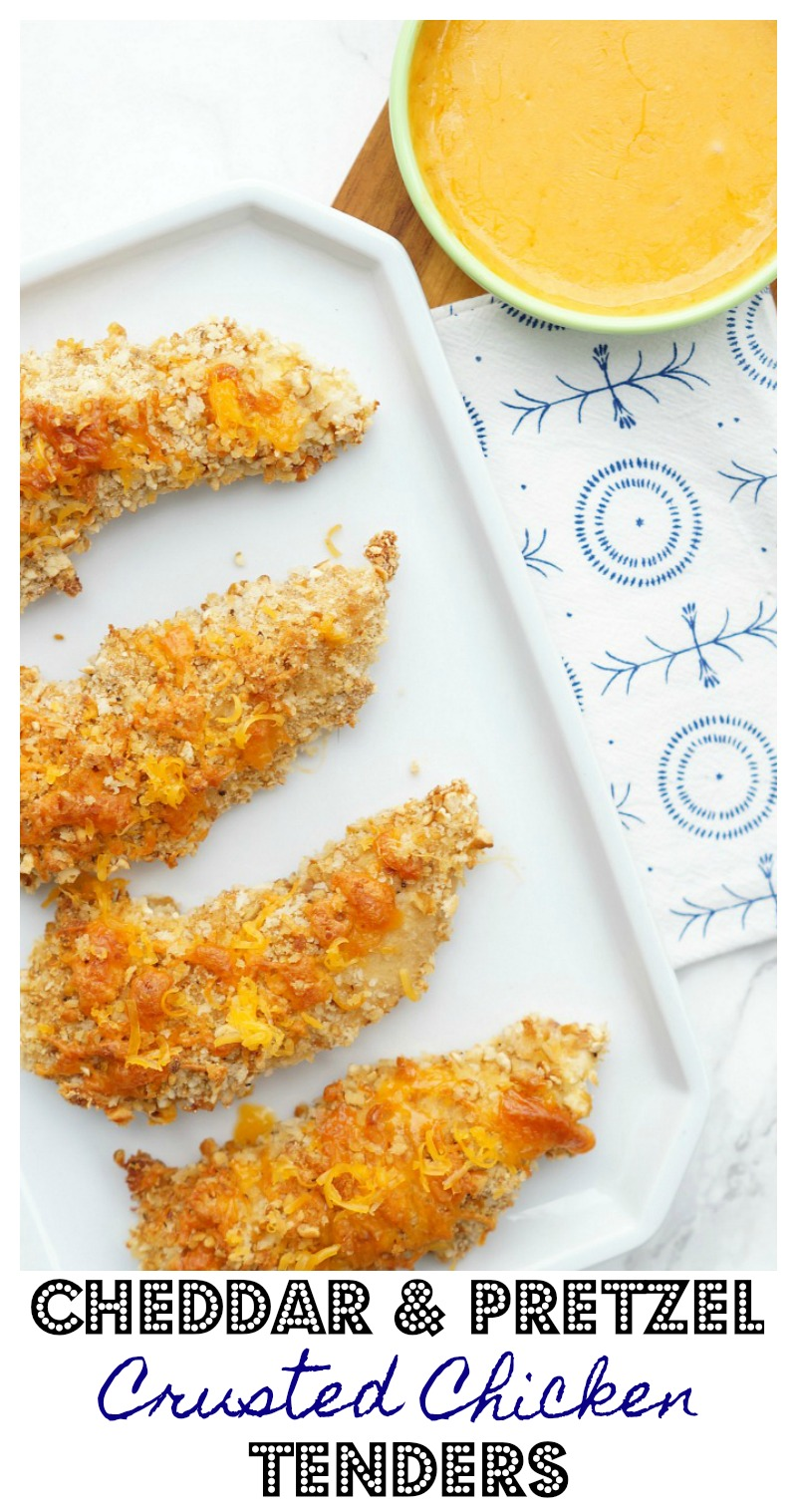 Cheddar and Pretzel Crusted Chicken Tenders