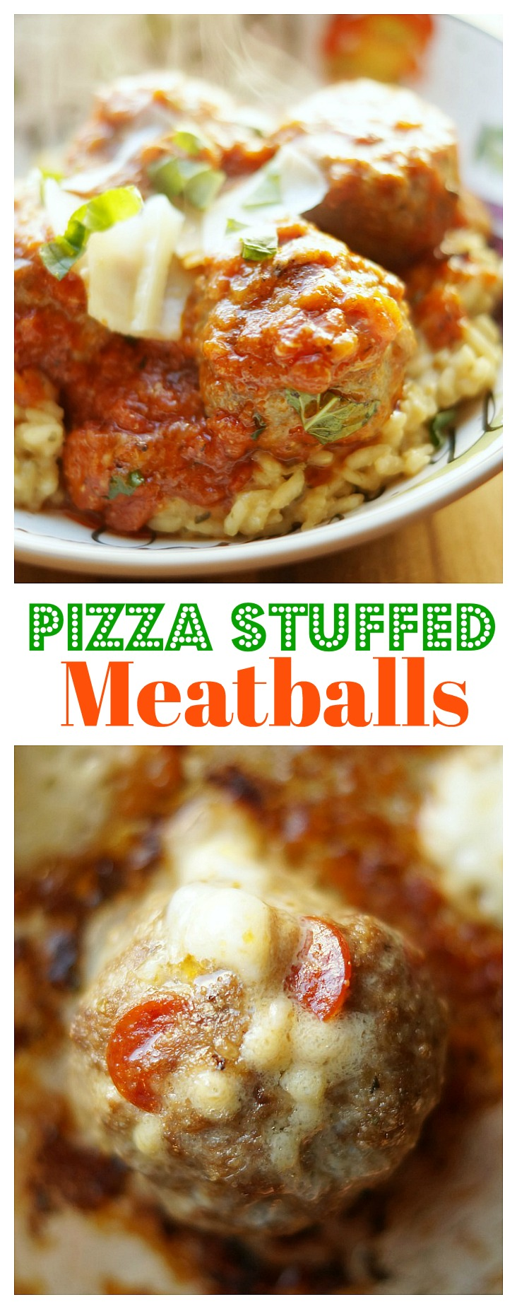 Easy and Delicious Pizza Stuffed Meatballs. Pepperoni and Mozzarella are stuffed into a delicious meatball, then simmered in pizza marinara sauce!
