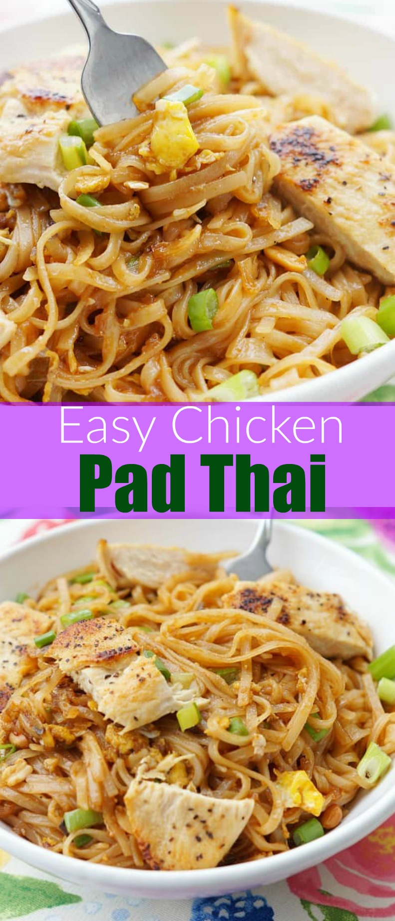 Easy Chicken Pad Thai. This healthy pad thai with chicken is so good and so easy! Chicken dinners that take less than 15 minutes are my favorite! T