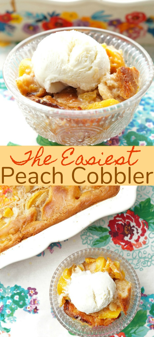 Easy Peach Cobbler Recipe made with Bisquick, an easy dessert recipe to feed a crowd!