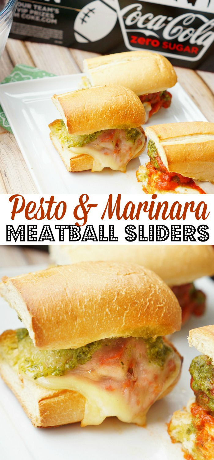 Pesto and Marinara Meatball Sliders