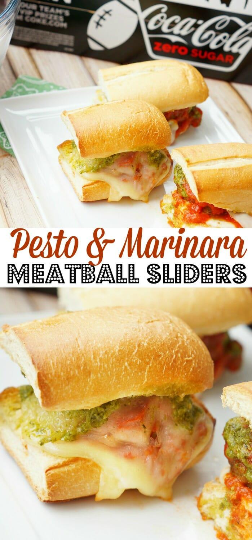 Pesto and Marinara Meatball Sliders