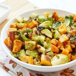 Thanksgiving SIde Dish Recipe, Roasted Sweet Potatoes and Brussel Sprouts