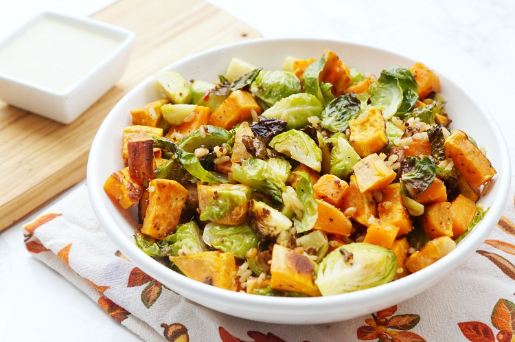 Thanksgiving SIde Dish Recipe, Roasted Sweet Potatoes and Brussels Sprouts