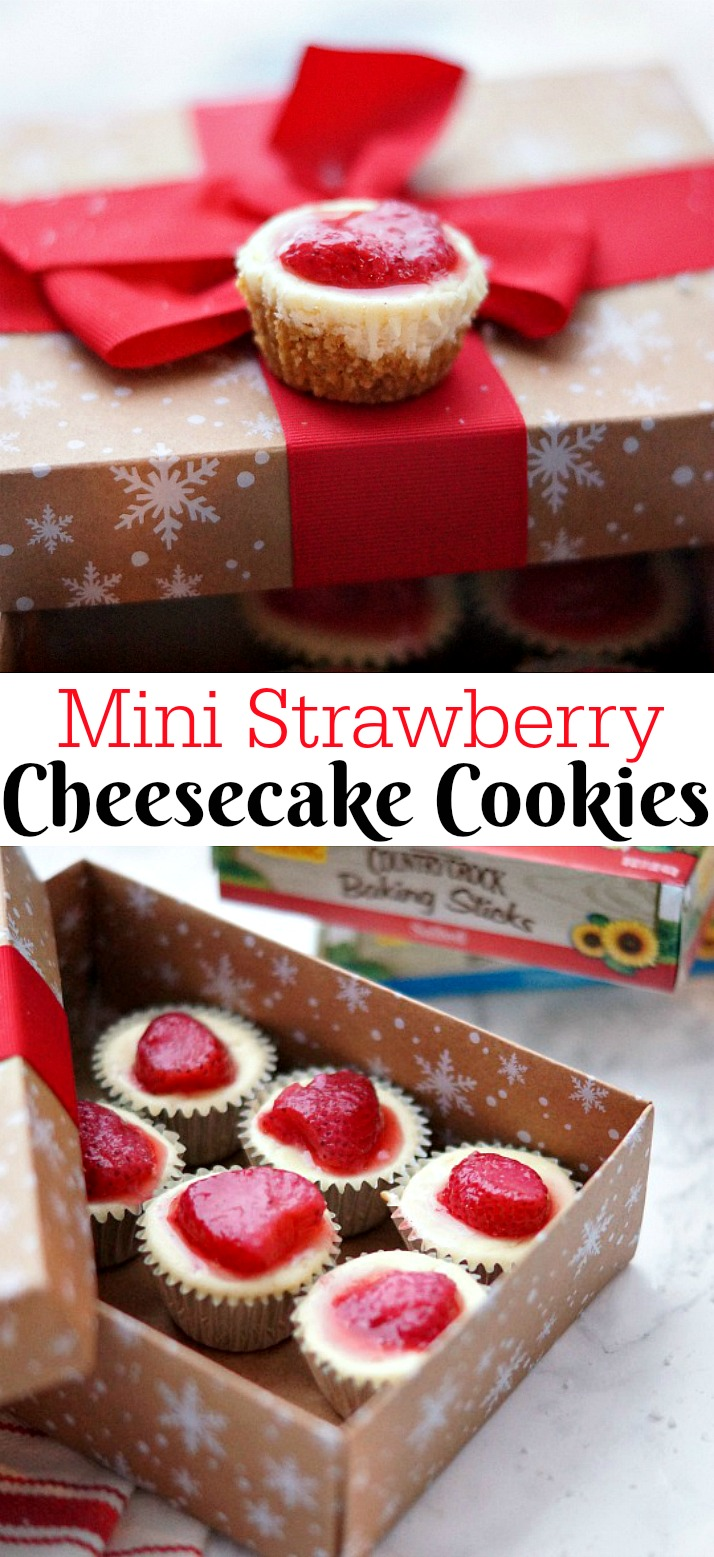 Mini Strawberry Cheesecake Cookie Cups