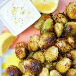Crispy Roasted Brussels Sprouts with Lemon Aioli