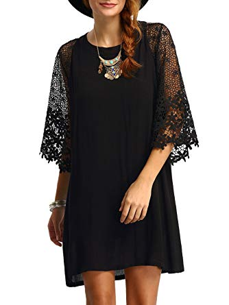 Lace Sleeve Chiffon Dress from Amazon