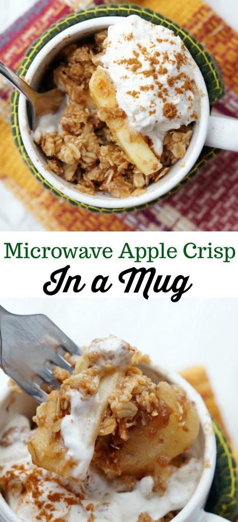 Easy Apple Crisp Recipe made in a mug in the microwave!