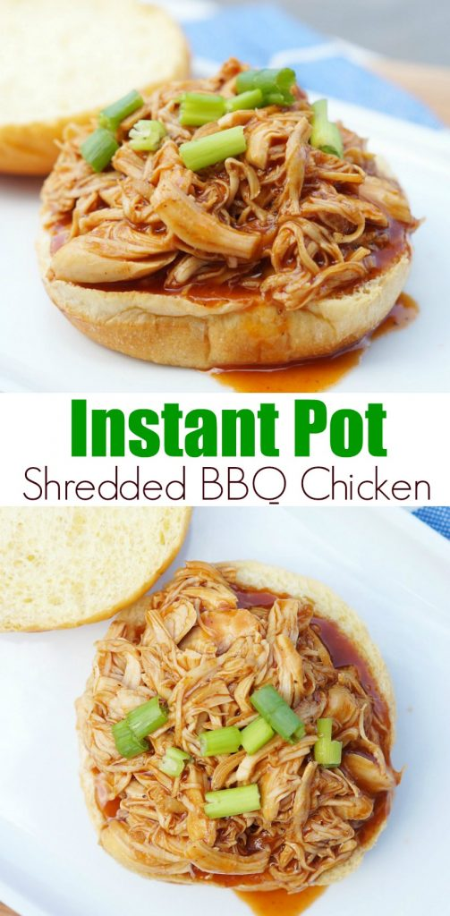 Easy Instant Pot Shredded BBQ Chicken perfect for bbq chicken sandwiches or shredded bbq chicken wraps
