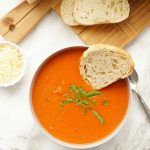 Roasted Tomato Soup with Parmesan Cheese