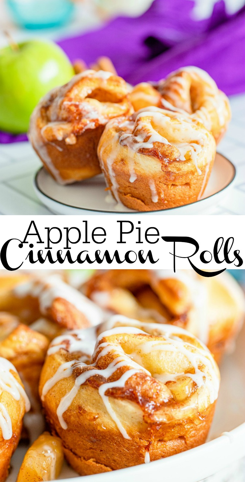 Easy Apple Pie Cinnamon Rolls made with Crescent Dough