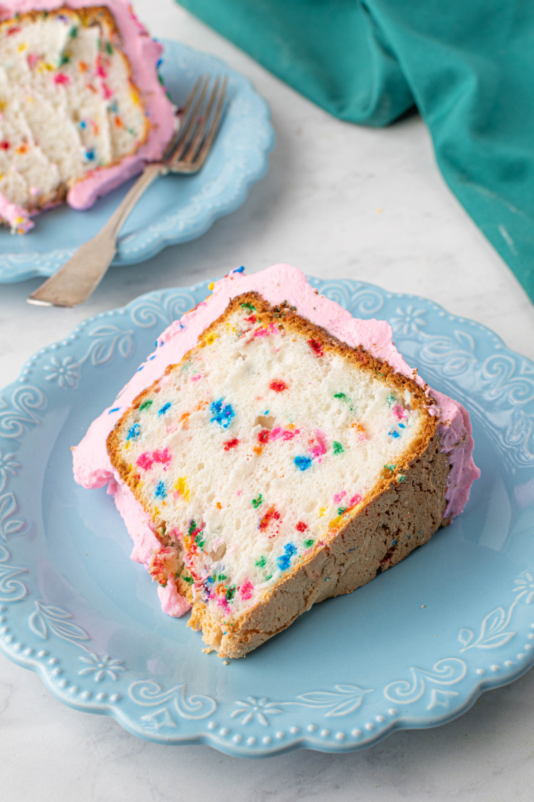 Homemade Angel Food Cake with Sprinkles