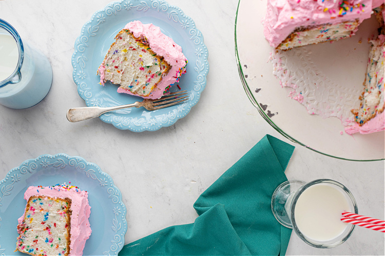 Pink Frosted Angel Food Cake
